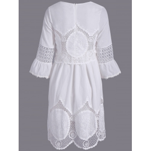 Fashionable Scoop Neck 3/4 Sleeve Lace Splicing Dress For Women - WHITE M