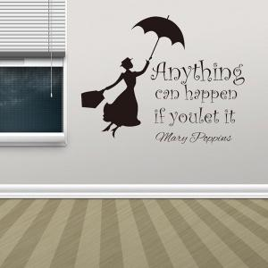 Anything Can Happen Quote Removable Room Wall Stickers - BLACK