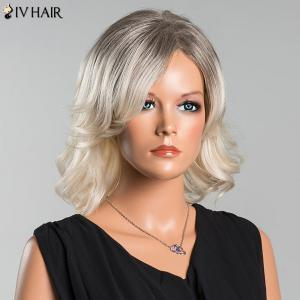 Siv Medium Colormix Side Parting Wavy Human Hair Wig -