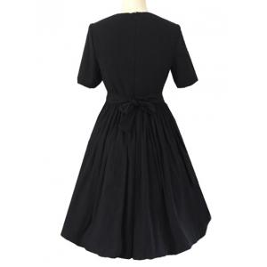 Crew Neck Ruched Full  Dress - BLACK 2XL