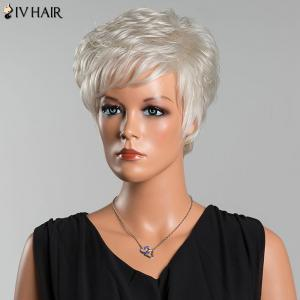 Siv Short Layered Curly Oblique Bang Human Hair Wig - SILVER WHITE