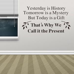 Home Decor Yesterday Is History Quote Wall Stickers - BLACK