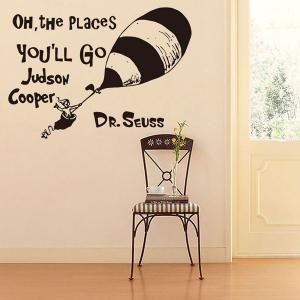 Creative Cartoon Proverb Removable Living Room Wall Stickers - BLACK