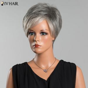 Siv Short Side Parting Colormix Fluffy Straight Human Hair Wig - COLORMIX
