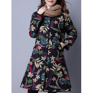 Flower Print Buttoned Quilted Coat - BLACK 2XL