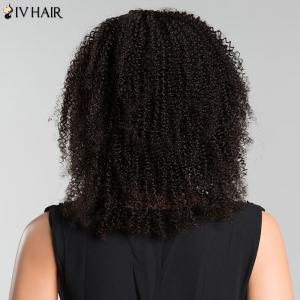 Siv Side Parting Medium Kinky Curly Human Hair Wig - JET BLACK