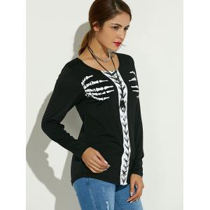 Long Sleeve Skeleton Print Halloween T-Shirt - BLACK XL