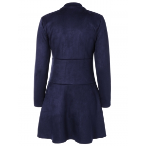 Long Sleeve Buttoned A Line Dress - DEEP BLUE S