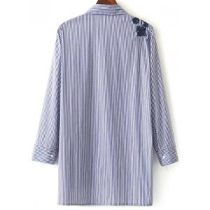 Striped High Low Embroidered Shirt - BLUE AND WHITE S