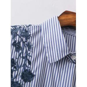 Striped High Low Embroidered Shirt - BLUE/WHITE S