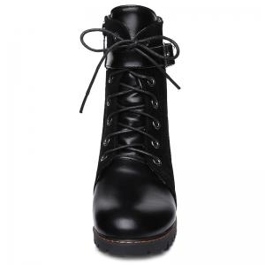 Suede Spliced Buckle Strap Lace-Up Combat Boots - BLACK 39