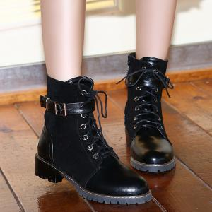 Suede Spliced Buckle Strap Lace-Up Combat Boots -