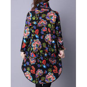 Turtle Neck Vintage Printed Midi Dress - BLACK M