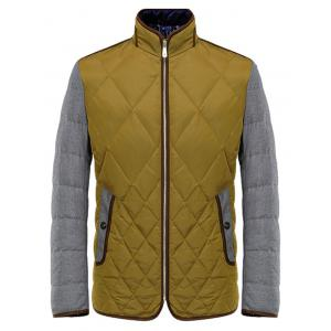 Argyle Color Block Spliced Design Zip-Up Down Jacket -