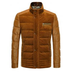 PU-Leather and Corduroy Spliced Zip-Up Down Jacket - EARTHY 2XL