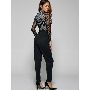 Long Sleeve Sheer Mesh Trim Jumpsuit - BLACK XL