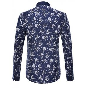Circinate Print Long Sleeve Button-Down Shirt - CADETBLUE 4XL