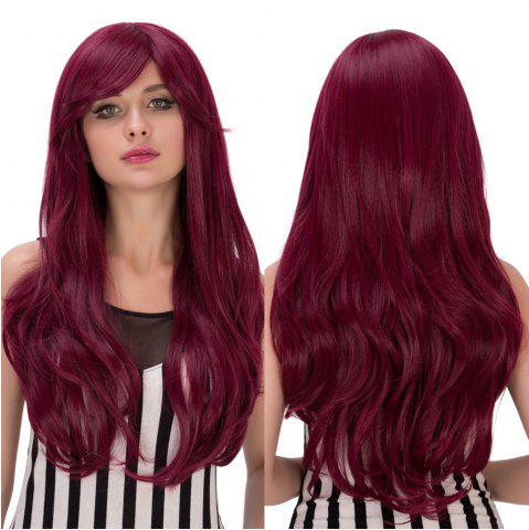 Cheap Long Fluffy Wavy Tail Adduction Oblique Bang Lolita Wig RED VIOLET