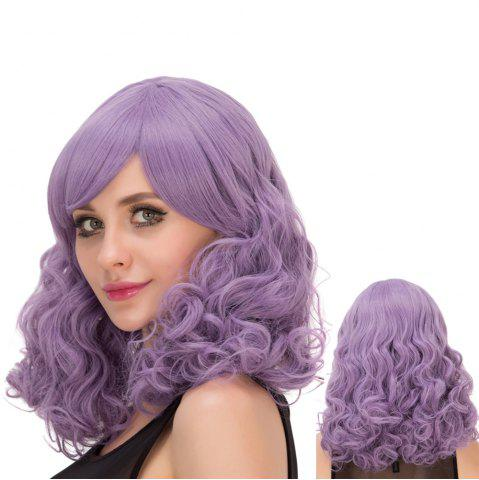 Trendy Long Fluffy Curly Oblique Bang Synthetic Lolita Wig