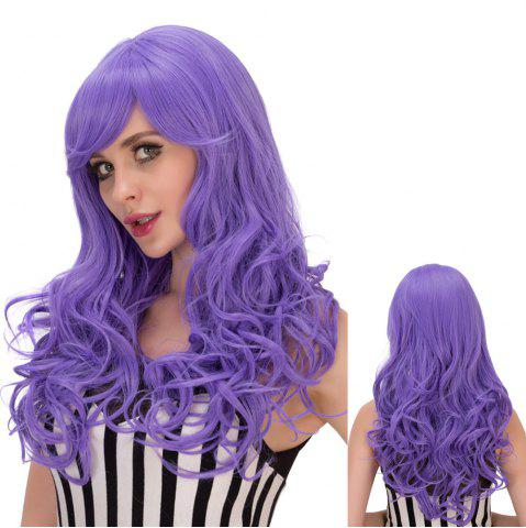Unique Shaggy Long Wavy Inclined Bang Synthetic Lolita Wig PURPLE