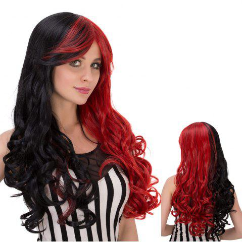 Discount Long Shaggy Wavy Colormix Oblique Bang Synthetic Lolita Wig