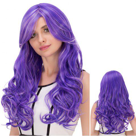 Hot Ombre Highlight Oblique Bang Long Fluffy Wavy Lolita Wig COLORMIX