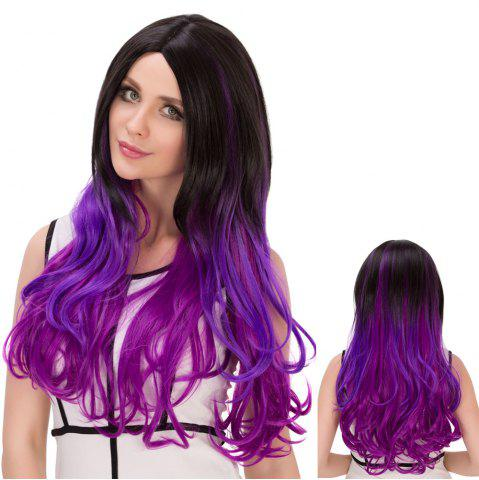 Chic Long Ombre Wavy Centre Parting Synthetic Lolita Wig BLACK AND PURPLE