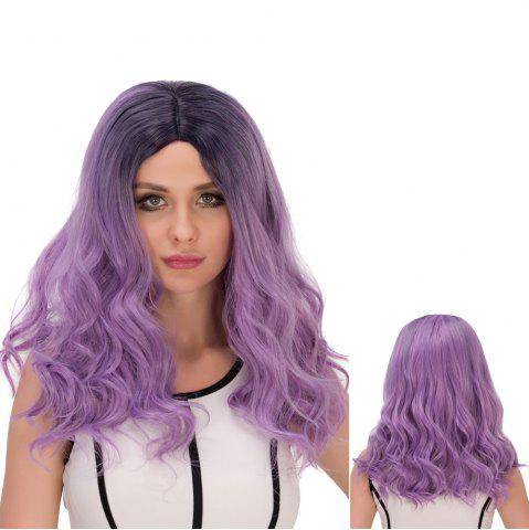 Fancy Long Ombre Centre Parting Wavy Synthetic Lolita Wig BLACK AND PURPLE