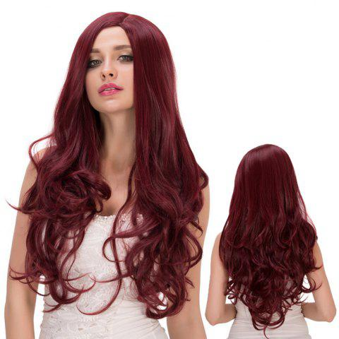New Long Fluffy Wavy Side Parting Heat Resistant Fiber Wig DEEP RED