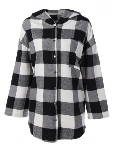 Discount Plaid Hooded Loose Fitting Blouse