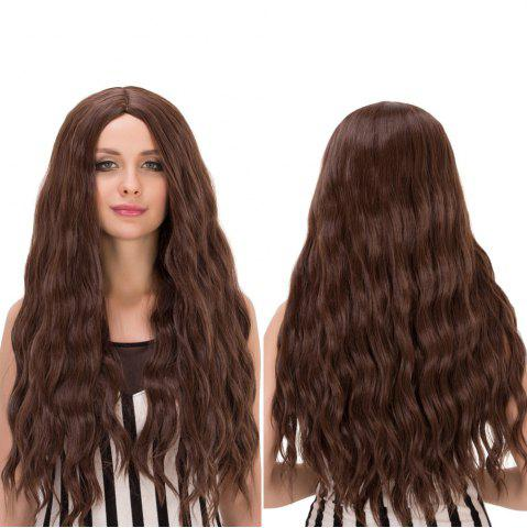 Fashion Long Centre Parting Wavy Heat Resistant Fiber Wig DEEP BROWN