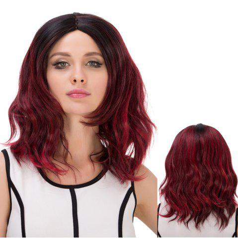 Online Medium Double Color Bouffant Centre Parting Wavy Synthetic Wig
