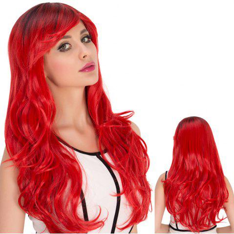 Fashion Long Side Bang Wavy Red Gradient Cosplay Synthetic Wig COLORMIX