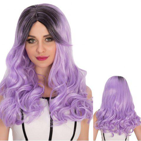Store Long Side Bang Wavy Purple Ombre Shaggy Cosplay Synthetic Wig