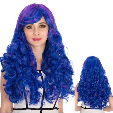 Buy Long Side Bang Wavy Blue Ombre Shaggy Cosplay Synthetic Wig COLORMIX