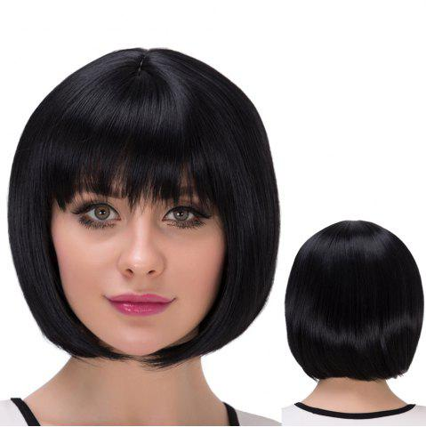 Chic Short Natural Straight Neat Bang Bob Synthetic Wig