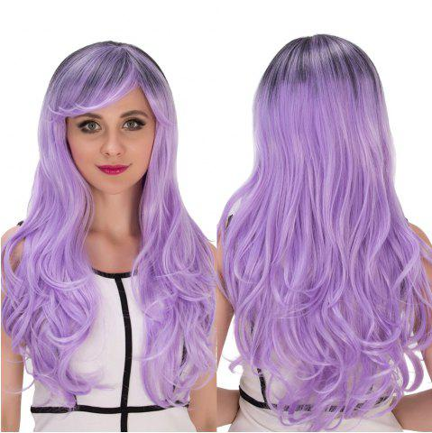 Cheap Long Side Bang Wavy Purple Ombre Cosplay Synthetic Wig