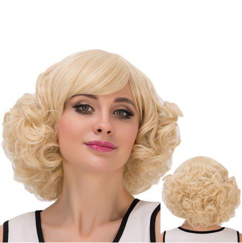 New Short Inclined Bang Curly Heat Resistant Fiber Wig