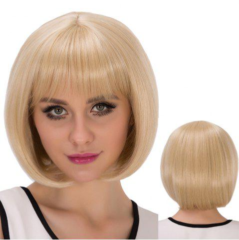 Discount Short Straight Oblique Bang Bob Synthetic Wig LIGHT GOLD
