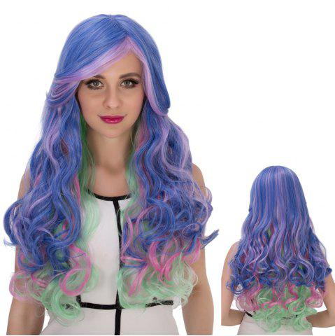 New Long Side Bang Wavy Colorful Cosplay Synthetic Wig COLORMIX