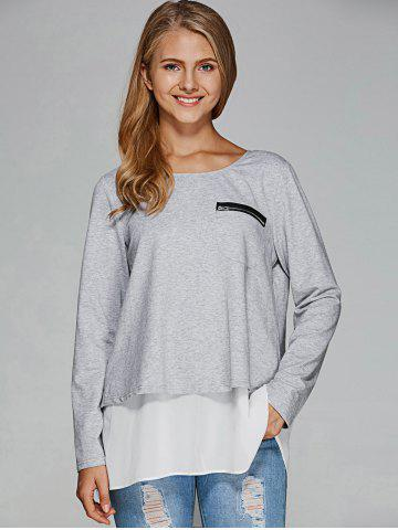 Sale Chiffon Splicing Back Slit T-Shirt - L GREY AND WHITE Mobile