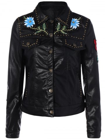 Chic Butterfly Embroidery Faux Leather Jacket
