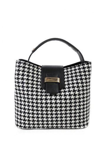 Fashion Colour Block Houndstooth Metal Tote Bag