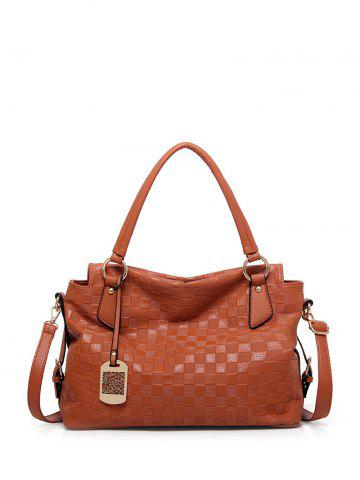 Embossing Plaid Pattern Metal Tote Bag - Brown