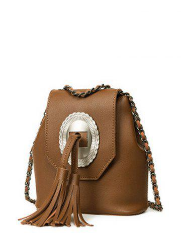 Affordable Snap Closure Tassels Chain Crossbody Bag