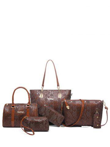 Metals Embossed PU Leather Shoulder Bag - Coffee - Horizontal
