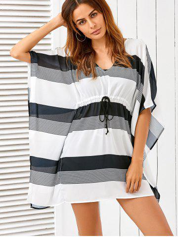 Store Butterfly Sleeve Drawstring Striped Cover-Up