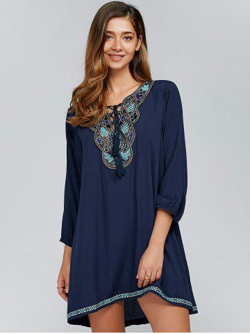 Latest Tie-Front Embroidery Peasant Dress