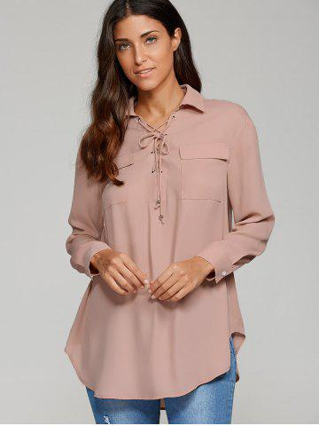 Cheap Lace-Up Flap Pockets Shirt
