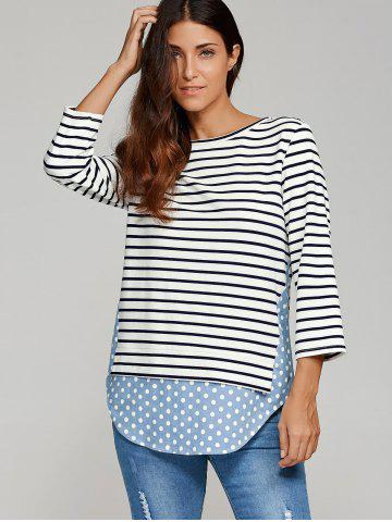 Shop Polka Dot Trim Striped Blouse